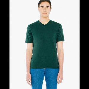 AMERICAN APPAREL Green V Neck T-Shirt